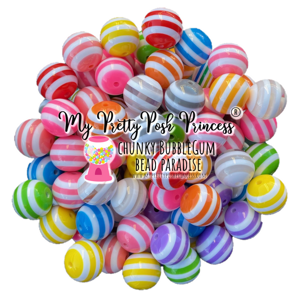 20mm Striped Chunky Bubble Gum Beads Bulk Bag Wholesale 100 Count