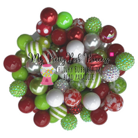 """Mr. Grinch"" (Red, Bright White, & Lime Green) Themed Chunky Bubble Gum Bead Lot *Read Entire Product Description Before Purchase"