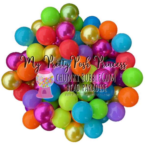 """Neon Solids & Pearls Mix"" Chunky Bubble Gum Bead Themed Bead Lot **Read Item description before purchase!"