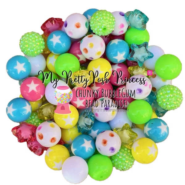 Neon Summer Star Themed Chunky Bubble Gum Bead Lot 20mm Bubble Gum Beads Wholesale