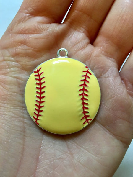P4 Softball- Chunky Bubblegum Bead Necklace Pendant Focal Piece