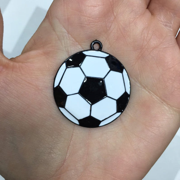 P59 Soccer Ball- Chunky Bubblegum Bead Necklace Pendant Focal Piece