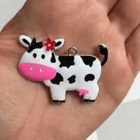 P112 Cow with Pink Bow  Chunky Bubblegum Bead Necklace Pendant Focal Piece