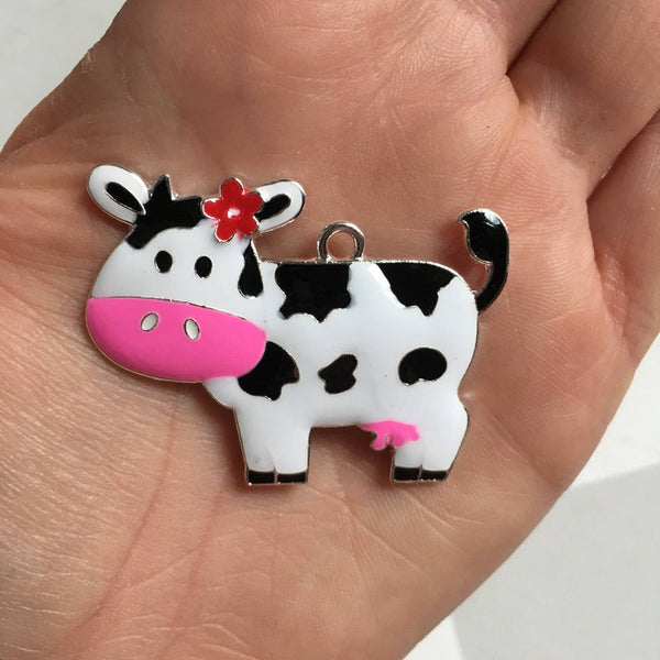 P102 Cow with Pink Bow  Chunky Bubblegum Bead Necklace Pendant Focal Piece