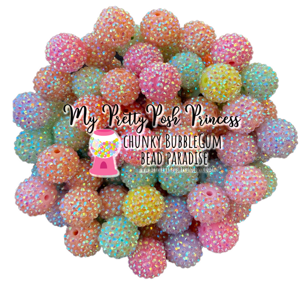 20mm Pastel AB Rhinestones Mix Chunky Bubble Gum Acrylic Beads Bulk Bag 100* Count Choose Color
