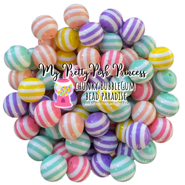 20mm Pastel Soft Colored Striped Chunky Bubble Gum Beads Bulk Bag Wholesale 100 Count