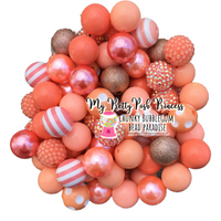 Coral/Peach Themed Chunky Bubble Gum Bead Lot *Read Entire Product Description Before Purchase