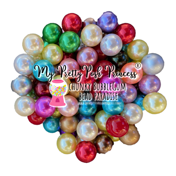 20mm Chunky Bubble Gum Pearl Mixed Wholesale Bulk Bag 105-120 Count Beads