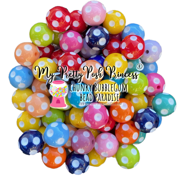 20mm Chunky Bubble Gum Polka Dot Wholesale Bulk Bag 100 Count Beads Mix