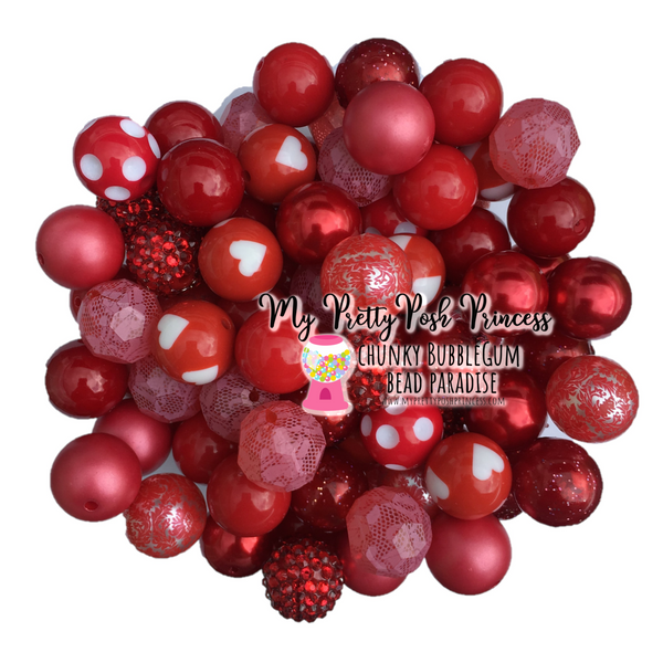 Red Themed Chunky Bubble Gum Bead Lot *Read Entire Product Description Before Purchase