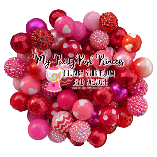 """Red & Pink"" Chunky Bubble Gum Bead Themed Bead Lot **Read Item description before purchase!"