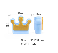 (SP105) Gold Crown Silicone Bead Accent BPA Free Teething/Sensory Pendant Teether