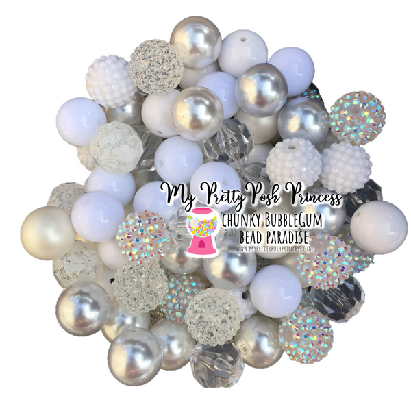 Snow & Ice Themed Chunky Bubble Gum Bead Lot *Read Entire Product Description Before Purchase