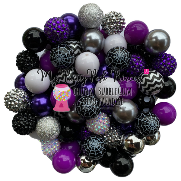 """Spooky Webs"" (Grape, Black, Bright White) Themed Chunky Bubble Gum Bead Lot *Read Entire Product Description Before Purchase"