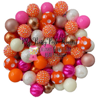 Thanksgiving Themed: Ivory, Orange, Medium Pink, & Brown Chunky Bubble Gum Bead Themed Bead Lot **Read Item description before purchase!