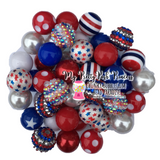 Red, White, & Blue Themed Chunky Bubble Gum Bead Lot