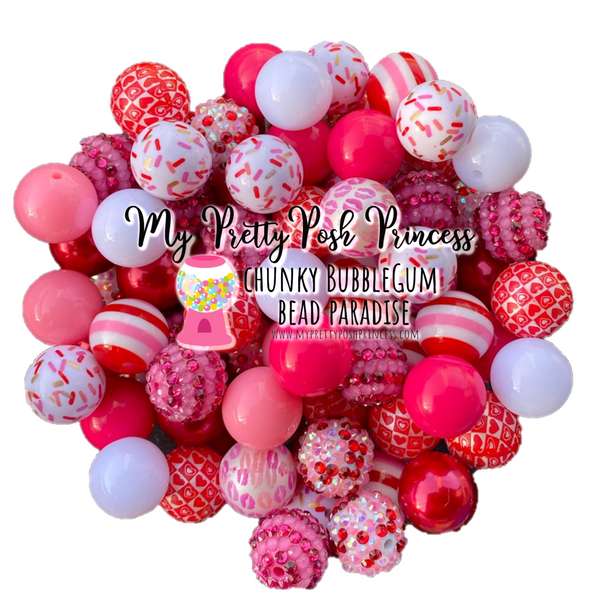 Valentine's Day Special Chunky Bubble Gum Bead Themed Bead Lot **Read Item description before purchase!