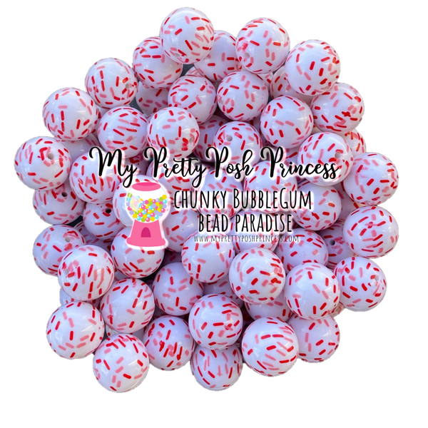 "20mm ""Valentine's Day Sprinkles""  Chunky Bubblegum Pearls Set of 10 for Jewelry Making"