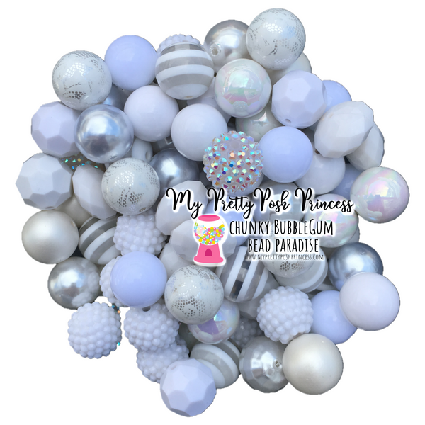 All White  Themed Chunky Bubble Gum Bead Lot *Read Entire Product Description Before Purchase