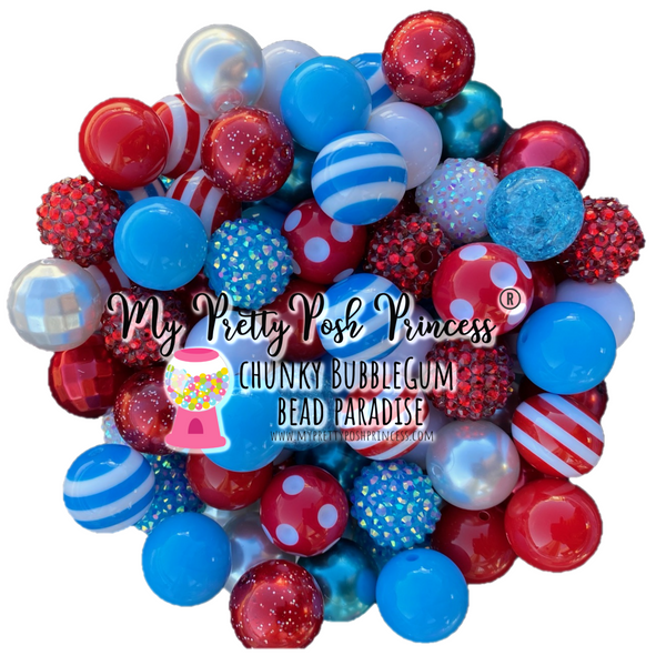 Dr. Seuss Inspired (White, Mint Blue, & Red) Themed Chunky Bubble Gum Bead Lot *Read Entire Product Description Before Purchase