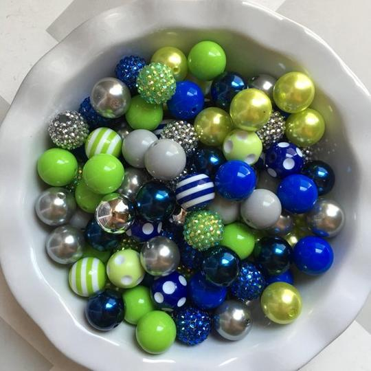Royal Blue, Lime Green, & Gray/Silver Chunky Bubble Gum Bead Themed Bead Lot **Read Item description before purchase!