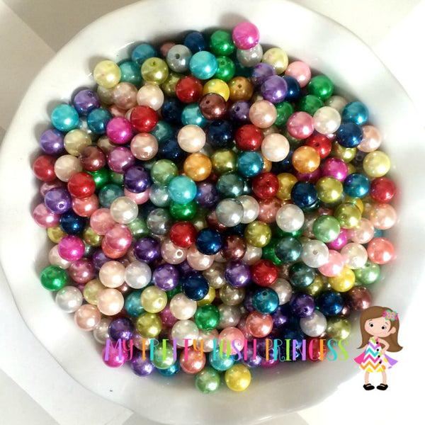 12mm Chunky Bubble Gum Pearl Mixed Wholesale Bulk Bag 100-110 Count Beads