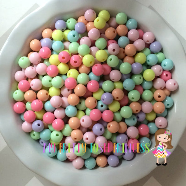 12mm Pastel Solids Chunky Bubble Gum Mixed Wholesale Bulk Bag 100-110 Count Beads