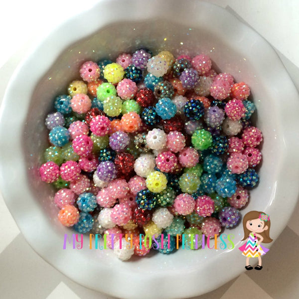 12mm Rhinestones Chunky Bubble Gum Mixed Wholesale Bulk Bag 100 Count
