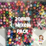 "20mm ""Mixed Pack"" Approx. 425 Solids, Pearl, Rhinestone, & Polka Dot Chunky Bubble Gum Bead Wholesale Bulk Bead Lot"