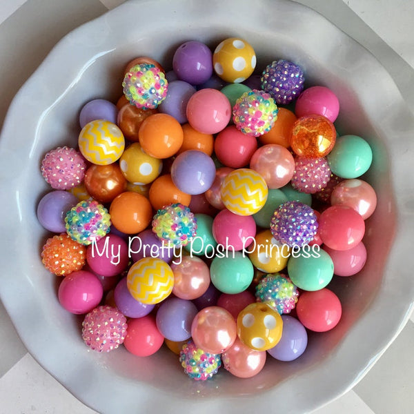 """Easter Pastel Themed"" Chunky Bubble Gum Bead Themed Bead Lot **Read Item description before purchase!"