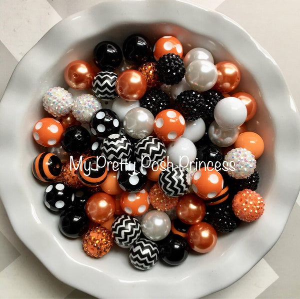 Black, White, & Orange Themed Chunky Bubble Gum Bead Lot *Read Entire Product Description Before Purchase