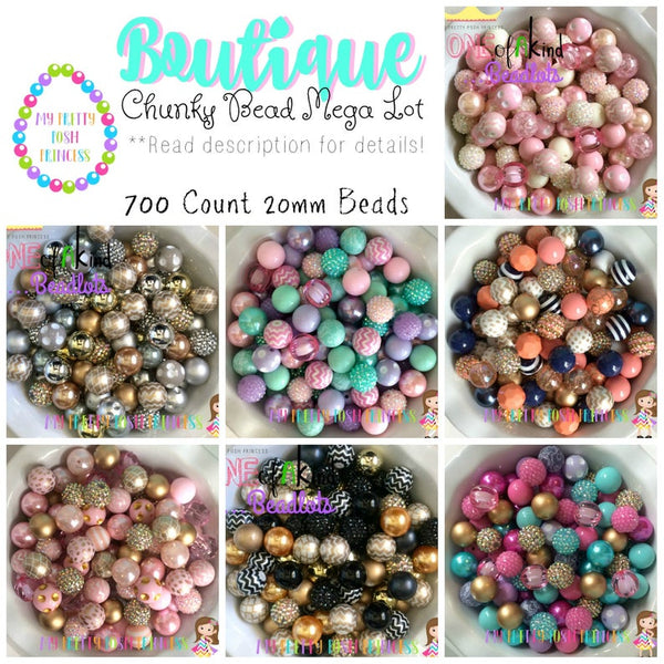 "12/20mm The ""Boutique Mixes"" 700 Count (7 different Color Themes) 20mm Chunky Bubble Gum Bead Super Lot {{all beads paired}}"