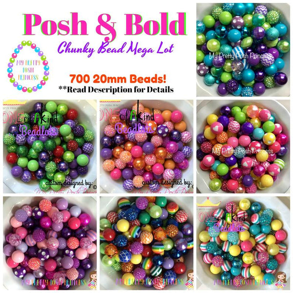 "12/20mm The ""Posh & Bold"" 700 Count (7 different Color Themes) (or 1/2 Option)  20mm Chunky Bubble Gum Bead Super Lot {{all beads paired}}"