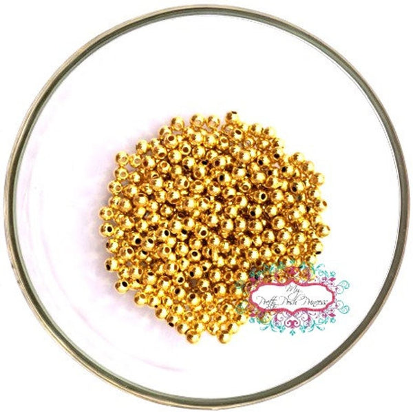 4mm Gold Acrylic/Metal Chunky Bubblegum Necklace Spacer Beads