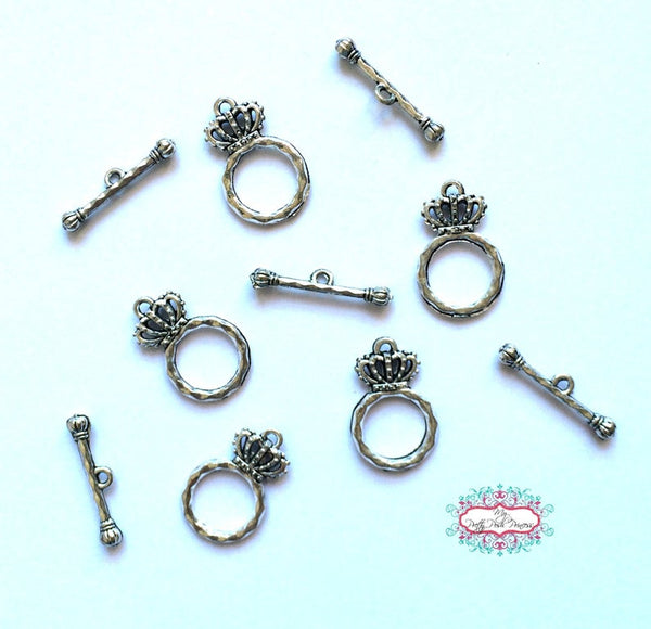 100 Sets Crown Toggles for Necklaces & Bracelets BULK 100 SETS **Actual Toggles are Shinier Silver!