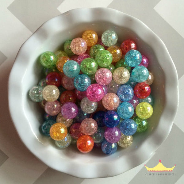 20mm Chunky Bubble Gum Crackle Mixed Wholesale Bulk Bag 100 Count Beads