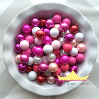 100 {20mm} Valentine's Day Solids & Pearls Themed Bulk Wholesale Mega Mix