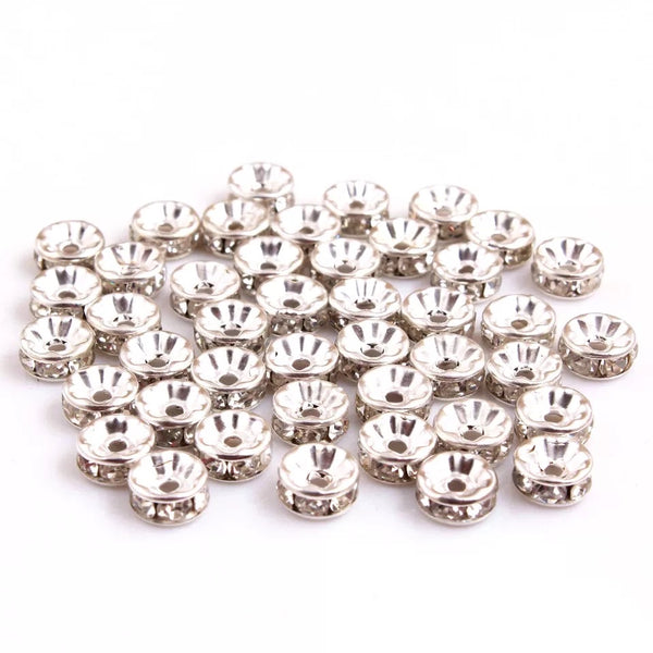 10mm Rhinestone Spacers for Chunky Bubblegum Necklace and Jewelry Making Set of 20 Count