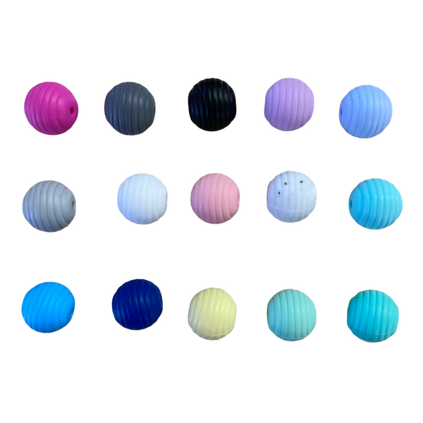 "15mm ""Spiral"" Silicone Teething Beads, 100% Food Grade, BPA Free, Sensory Beads, Loose Beads *Choose Color/Quantity"