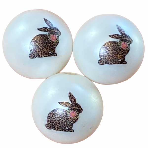 "12/20mm ""Leopard Bunny"" Printed Matte White Beads"