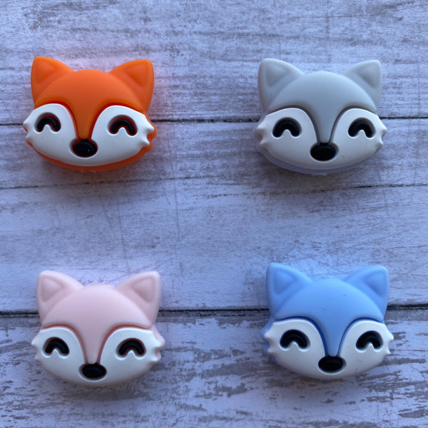 X4- Fox Silicone Focal Bead BPA Free Teething/Sensory Pendant Teether *Choose Color