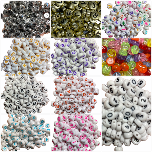 BULK MIX (Approx 150 Beads) 7mm x 4mm Acrylic/Resin Letter/Alphabet/Number A-Z) Beads for Jewelry Making, Perfect for Bracelets