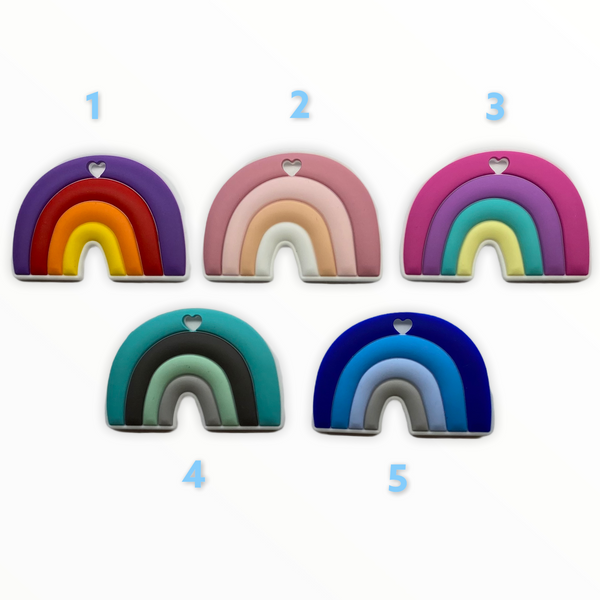 (SP245) Rainbow Series Silicone BPA Free Teething/Sensory Pendant 100% Food Grade Silicone Size : 100*52MM *Choose Color