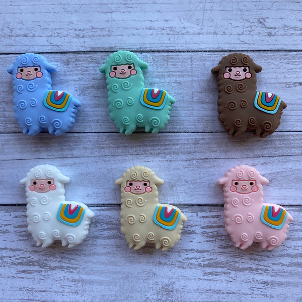 X1- Llama Alpaca Silicone Focal Bead BPA Free Teething/Sensory Pendant Teether *Choose Color
