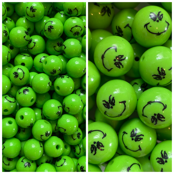 "12/20mm ""Grinch Printed"" Beads **Choose Size"
