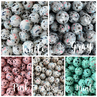 Terrazzo Print 12mm/15mm/19mm Silicone Teething Beads, 100% Food Grade, BPA Free, Sensory Beads, Loose Beads *Choose Size