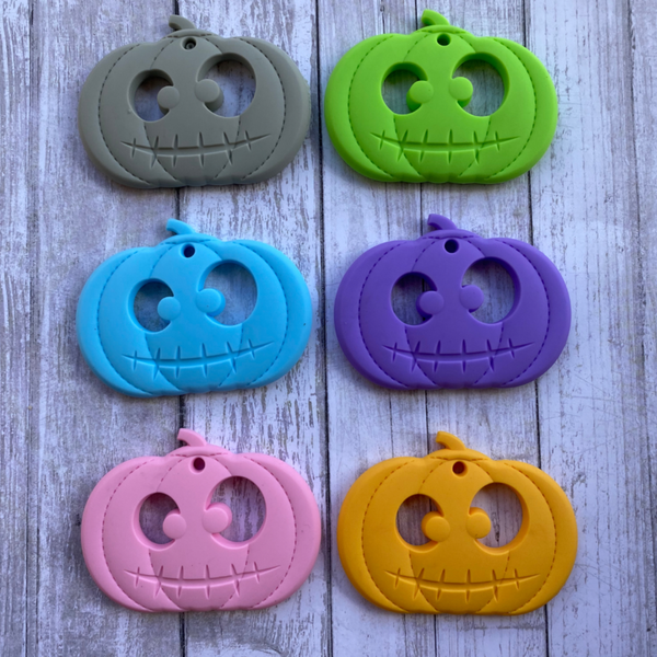 (SP186) Pumpkin Jack O' Lantern Halloween Silicone BPA Free Teething/Sensory Pendant Teether *More Colors Available
