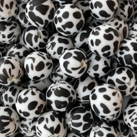 Cow Print 12mm/15mm/19mm Silicone Teething Beads, 100% Food Grade, BPA Free, Sensory Beads, Loose Beads *Choose Size