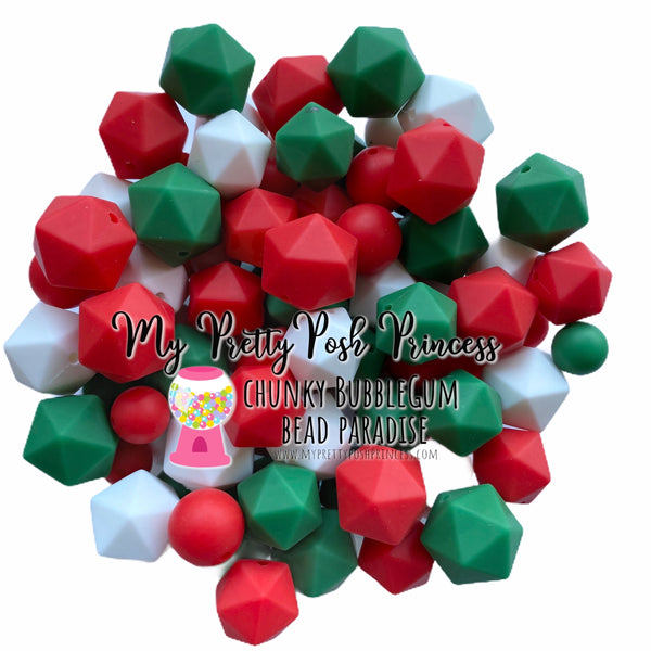 Christmas {100 Count} Mix Silicone Teething Bead, 100% Food Grade Silicone, BPA Free, Sensory Beads, Loose Beads Set