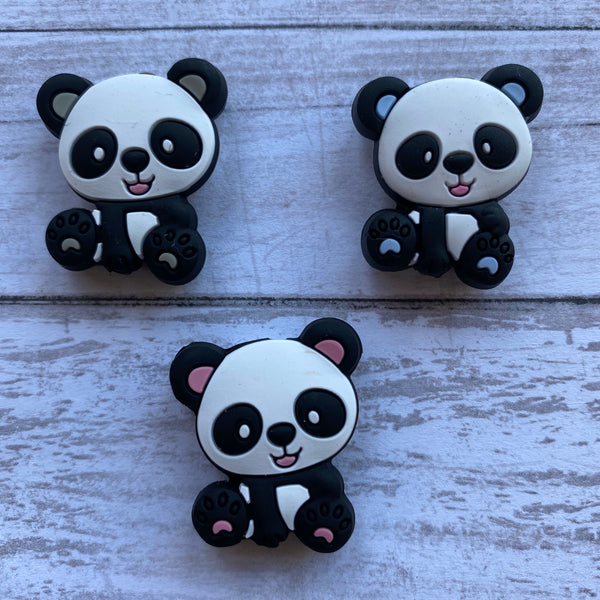 X11- Panda Silicone Focal Bead BPA Free Teething/Sensory Pendant Teether *Choose Color